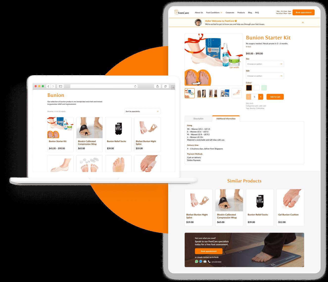 The Visual Team client website thumbnail - feetcare